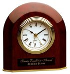 Piano Finish Rosewood Beveled Arch Clock Mantle Clocks