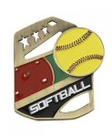 Softball Color Medal Free Standing Or With Ribbon Softball Trophy Awards